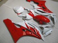 juegos de carenado r6 al por mayor-Ajuste 100% para carenados moldeados por inyección Yamaha YZF R6 2006 2007 blanco rojo carenado YZFR6 06 07 OT25