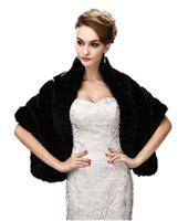Wholesale Winter Shoulder Fur - Black Faux Fur Wrap Cape Stole Shawl Shrug for Wedding Party Show Shoulder width 38cm - 40cm. Soft,Smooth and Warm-Keeping