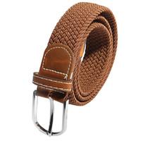 Wholesale Braided Black Belt Men - Wholesale- SAF 2016 NEW Unisex Men Women Stretch Braided Elastic Leather Buckle Belt Waistband brown