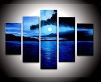 Wholesale Ocean Artwork - 100% Hand-painted Wood Framed on the Back Artwork Dark Blue Ocean White Sun High Q. Wall Decor Landscape Oil Paintings on Canvas 5pcs set