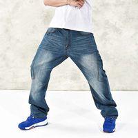 Wholesale Harem Legging Jeans - Wholesale- American Style Mens Jeans Wide Leg Casual Hip Hop Harem Denim Pants Skateboard Loose Trousers Big Size 30-46
