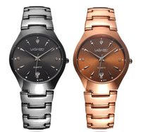 Wholesale Tungsten Watch Steel Black - Luxury Men Wristwatch Diamond Waterproof Calendar Tungsten Steel Quartz Watches Fashion Dress Crystal Rose Gold Black Grooms Suit Watch Fob