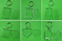 Wholesale Acrylic Key Chain Blanks - Free Shipping 1800pcs Blank Acrylic Rectangle Keychains Insert Photo Keyrings (Key ring chain)