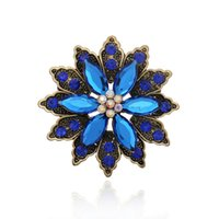 Wholesale Gem Brooch Bouquet - Wholesale- Fashion Women Korean Flower Gem Stone Blue Crystal Wedding Bouquet Brooch Rhinestone Women Brooches Pins 2015 New Luxury Broooch