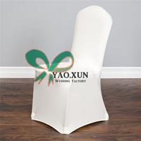 fildişi spandex toptan satış-Fildişi Renk Likra Spandex Sandalye Örtüsü Düğün Süslemeleri Ve Parti Fabrika Fiyat Için