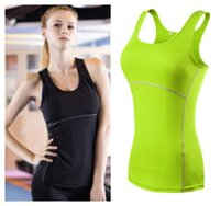 Wholesale Spaghetti Strap Neon - Women's new fashion sports gym yoga running fitness sleeveless shirt candy neon color quick dry spaghetti strap tank vest camisole
