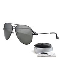 Wholesale Drivers Glasses - classic retro metal frame polarized sunglasses brand designer sunglasses for men women driver pilot sunglasses with Sun Glasses Box