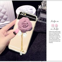 Pour iphone 5 5s se 6 6s 7 8 plus X Beaut Luxury Diamond Camellia Étui à miroir doux