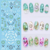 Wholesale Water Decal Nail Paint - 1PC Water Transfer Nail Foil Sticker Art Painting Chinese Ink Paiting Flowers Nail Wraps Sticker Manicure Decor Decals 2 Colors