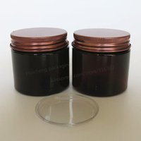 Wholesale Cosmetics Jars Lids - 20pcs lot 50g Amber PET Cream Jar, 50cc cosmetic container with Aluminum Lids