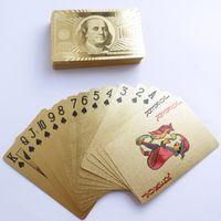 cartões de poker de folha de ouro 24k venda por atacado-Jogando poker Ouro 24K Cards Jogos Joker Partido Tabela Dois Big Rei Jogo Foil folha Toy Escritório