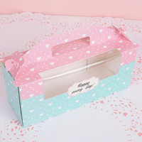 Wholesale 24 cupcakes resale online - 24 cm Pink Blue Cupcake Window Boxes Holes Swiss Roll Box with Handle Dessert Packaging ZA4019