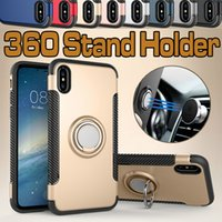 Hybrid 2 en 1 Armor Case ShockProof Cases 360 Stand Holder TPU + PC Car Magnetic Cover para iPhone X 8 7 más 6 6s SE 5s Samsung S8 Note 8