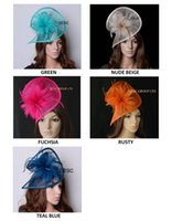 Wholesale Hat Shaped Hair - New colors,HOT sinamay fascinator hat in SPECIAL shape w  feathers for hair accessory racesurch wedding party Kentucky derby