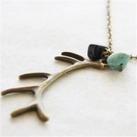 Wholesale Antiqued Chain Wholesale - 12pcs lot Antiqued bronze tone Antler Necklace Elk Deer Necklace Woodland Antler Jewelry with bead