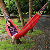 Wholesale Colorful Hanging Swing - Wholesale- Portable Nylon Hammock Outdoor Garden Hammock Hang BED Travel Camping Swing Canvas Material Colorful Pattern Sleeping Bed Tools