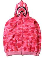 chaqueta de cuello rojo de los hombres al por mayor-Venta al por mayor nuevo otoño 6 colores Shark Print Red Camo Hoodie ropa de marca Hip Hop Hoodies hombres bordado sudadera chaqueta Tops tamaños S-2XL