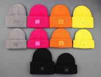 Wholesale Solid color knit hat Acne Autumn winter square ACN Smile Face wool Knit beanie skull caps winter knitted Warm hats Basketball Caps hip hop