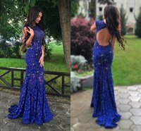Wholesale Sparkle Sleeve Short Prom Dress - Sexy Sparkling Royal Blue Prom Dresses 2017 Open Back with Beadings Retro Lace Mermaid Pageant Party Gowns 2K17 Couples Fashion Party Gowns