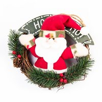 Wholesale Wholesale Rattan Ring - Garland Christmas Santa Gift Pendant Home Decor Creative Door Hanging Snowman Rattan Ring Festival Decorate Articles Many Styles 18xx C R