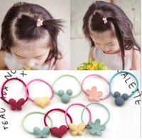 Wholesale Korean Cartoon Ring - Korean baby hair flower ring children cartoon Tousheng rubber butterfly love candy hair rope