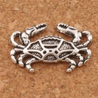 Wholesale Silver Crab Charm - Crab Claws Animal Charms Pendants 200pcs lot 19.5x12.6mm Antique Silver Jewelry DIY Fit Bracelets Necklace Earrings L180