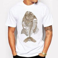 Wholesale Mens Fishing Shorts - Camping & Hiking T-Shirts Summer T Shirt Men T-shirt Compression Hip Hop Bony Piranha Fish Print Funny T Shirt Mens Camisetas tshirt