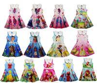 Wholesale Navy Blue Girls Tutu Dresses - 2017 Trolls Poppy Moana Girls Dresses 13Designs Elmo Julia Cartoon Printing Princess Dresses Navy Collar Sleeveless Dresses Kids Clothing