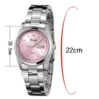 PREMA Stainless Steel Womens Casual Pink Blue White Face Dia Data Ladies Girls Quartz Wrist Watch