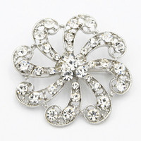 Wholesale Austria Pin - Bling Bling Clear Austria Crystal Fantastic Flower Brooch For Wedding Bridal Bouquet Lady Costume Brooch Pins Hot Selling