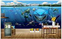 Wholesale fishing pictures free - 3D wall murals wallpaper custom picture mural wall Underwater world shark fish 3D living room wallpaper 3D Mural wallpaper Free shipping