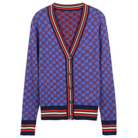 Wholesale Vintage Cardigan Sweaters - Free Shipping Vintage Blue Contrast Wool Knitting Women's Cardigans Brand Same Style Gold Line Buttons Women's Sweaters DH319