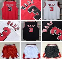 Wholesale Men s Black basketball jersey WADE Sleeveless sports wears embroided red basketball wear sports shirts adult s mesh basketball shorts