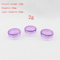 Wholesale plastic empty cream containers for sale - Group buy 2g purple empty cream cosmetic bottles with screw cap sample lip balm jar small display PS container g plastic cream jars
