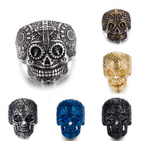 Wholesale Stainless Steel Cross Skull Rings - Stainless steel Men's Biker Rings Punk Harley motorcycles Skull Skeleton Cross male Ring For man s Fashion Jewelry in Bulk