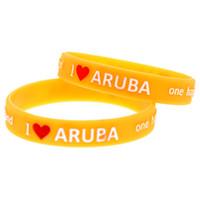 una pulsera de amor al por mayor-1 UNID Logo Bracelet I Love Aruba One Happy Island Silicone Wristband Perfecto para usar en cualquier beneficio Regalo