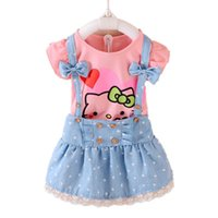Wholesale Set Girl Kitty - Wholesale- Hello Kitty Girls Dress Dresses Kids Girls clothes Children clothing Summer 2017 Toddler girl clothing Set Casual Fashion T569