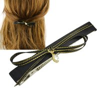 Wholesale Hair Clips Ribbon Diamond - New Charming Hair Jewelry Black Ribbon with Rhinestone Bowknot Hairgrips Fashion Hairwear Hair Accessories