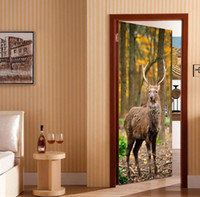 Wholesale door sticker mural resale online - 3D DIY Deer cm cm PVC Door stickers Adhesive and removable Wall Stickers Wall Decal Mural Art Home Decor