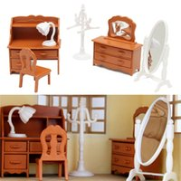 Wholesale Wholesale Dollhouse Table - Wholesale- Miniature Living Room Dressing Table Furniture Sets For Mini Children DollHouse Home Decor Kids Toy Doll House Toys Gift