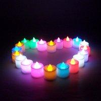 батареи для светодиодных свечей оптовых-Рождественские огни 3.6*4 см батарейках беспламенного LED Tealight чай свечи свет День Святого Валентина Свадьба День Рождения украшения