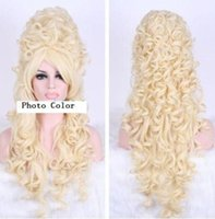 Barato Marie Perucas-Halloween Marie Antoinette 80CM Long Beige Anime Cosplay Party Hair Wig