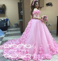 Wholesale Maria Bridal Dresses - Maria Fars 3D-Floral Appliques Flowers Beading Pink Wedding Dresses 2017 Luxury Off Shoulder Arabic Middle East Long Ball Gown Bridal Dress