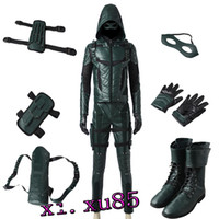 Wholesale Arrow Quivers - Original Exclusive Green Arrow Season 5 Oliver Queen Cosplay Costume Customize Full Suit Any Size Custom Made with BOOTS Quiver