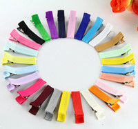 """Wholesale Wholesale Lined Hair Clips - 50pcs 1.8"""" DIY hair Accessory clips Baby girl Ribbon Hair Bows Clip Ribbon Lined Alligator Hair Clips Multi colors FJ3206"""
