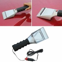 Wholesale Removing Snow - 12V Heated Auto Ice Scraper With Flashlight Stainless Steel Car Heating Snow Shovel To Remove Snow Hand Tools CCA7437 48pcs