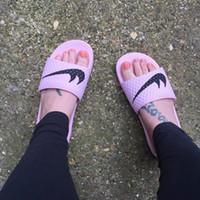 Wholesale Lightweight Women Slippers - Hot BENASSI SOLARSOFT Women Slippers Outdoor Summer beach slippers Lightweight Mirror slippers Golden Silver Indoor Pink shoes Size35.5-40