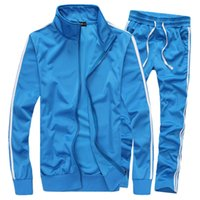 Wholesale Youth Size Suit - Wholesale-Spring Autumn Casual Slim Suit Men New Fashion Solid Stand Collar Youths Mens Tracksuit Set Men's suit (Asian Size)