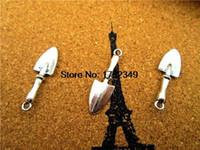 Wholesale Charms Shovel - Wholesale- 15pcs Trowel Shovel Charms Gardening Tools Pendants Antiqued Silver Double Sided 3D 9 x 22 mm