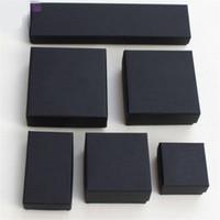caixas de presente kraft preto venda por atacado-XS Arquivos Elevados Preto Kraft Embalagem De Jóias Pulseira Colar Anel Ear Nail Box Presente de Natal de Ano Novo Personalizar 6 tamanho